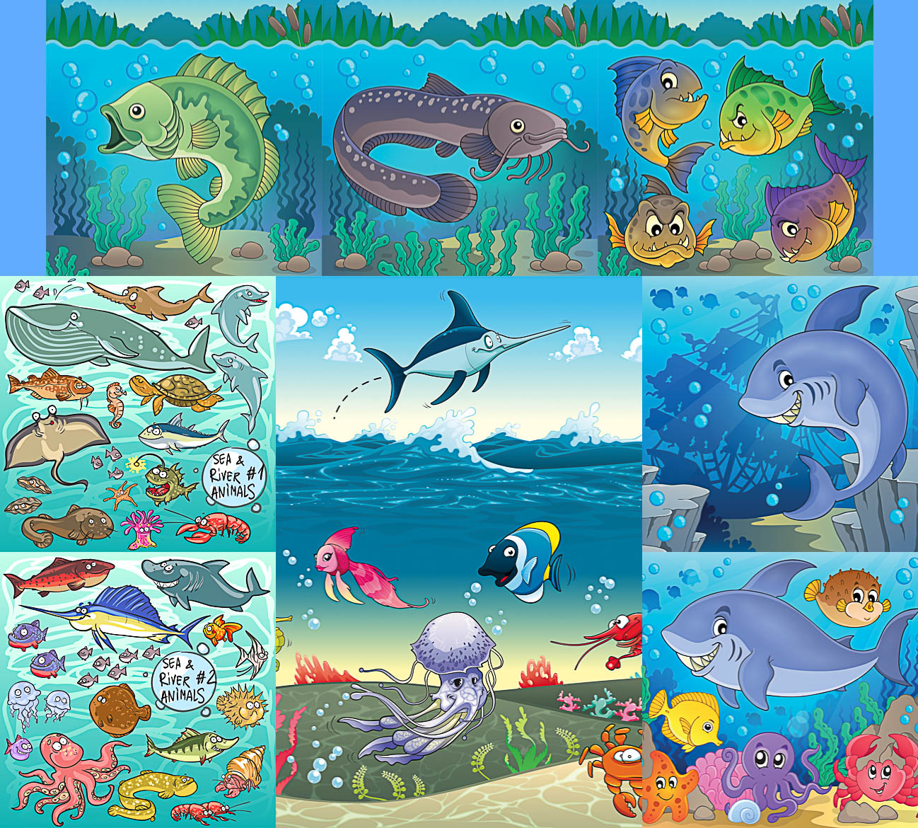 Hand drawn river and sea cartoons animals templates vector