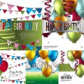 Happy birthday background and card vector