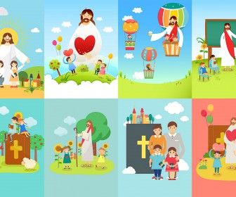 Easter backgrounds with Jesus, church and childrens vector
