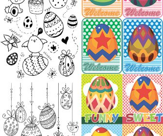 Funny handmade Easter cards vector