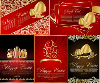 Ornate vertical Easter cards vector
