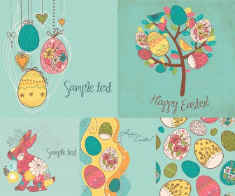 Turquoise Easter cards with eggs vector