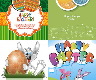 Vertical flat Easter cards vector