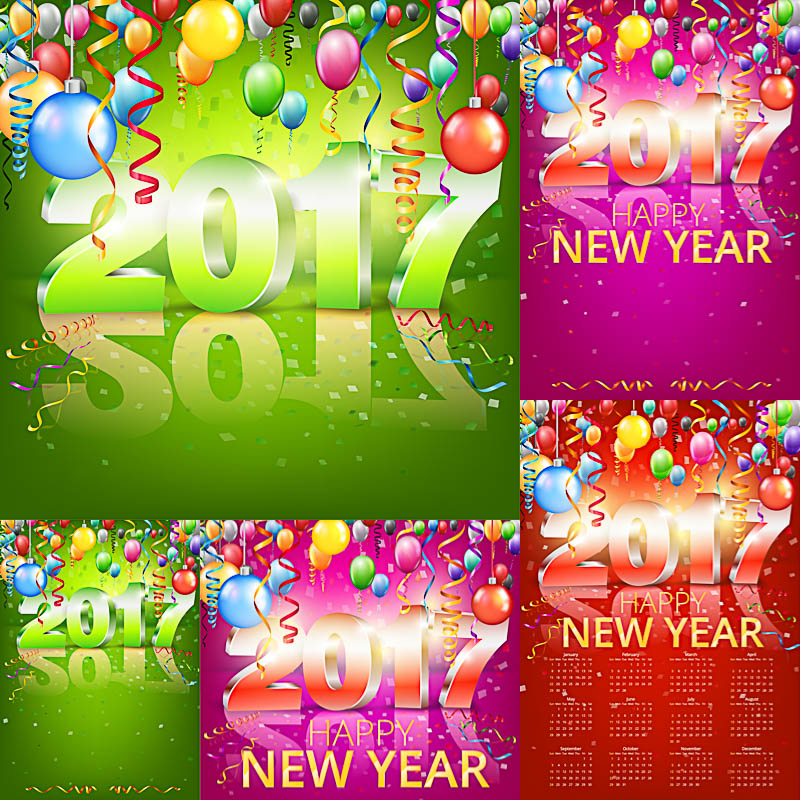 2017 inscription on New Year's cards and calendar vector