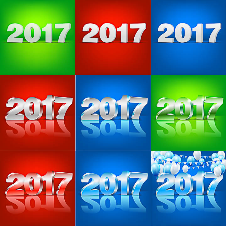 2017 inscriptions in 3d style vector