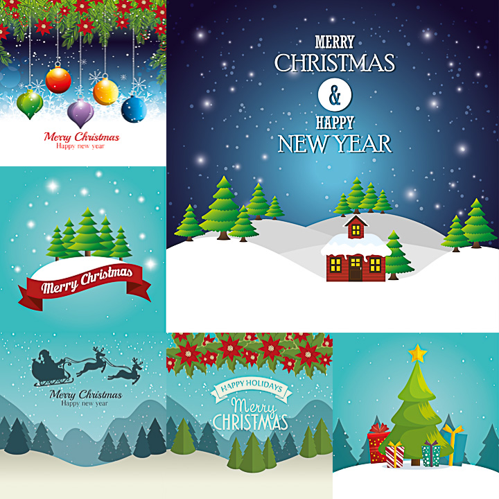 Christmas cards vector with Christmas tree