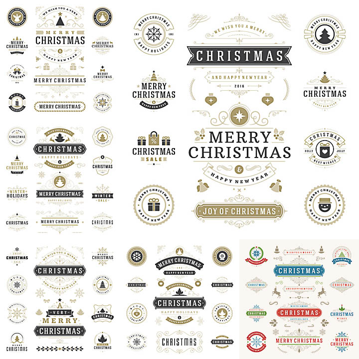 Classic Christmas labels and badges for 2017 vector