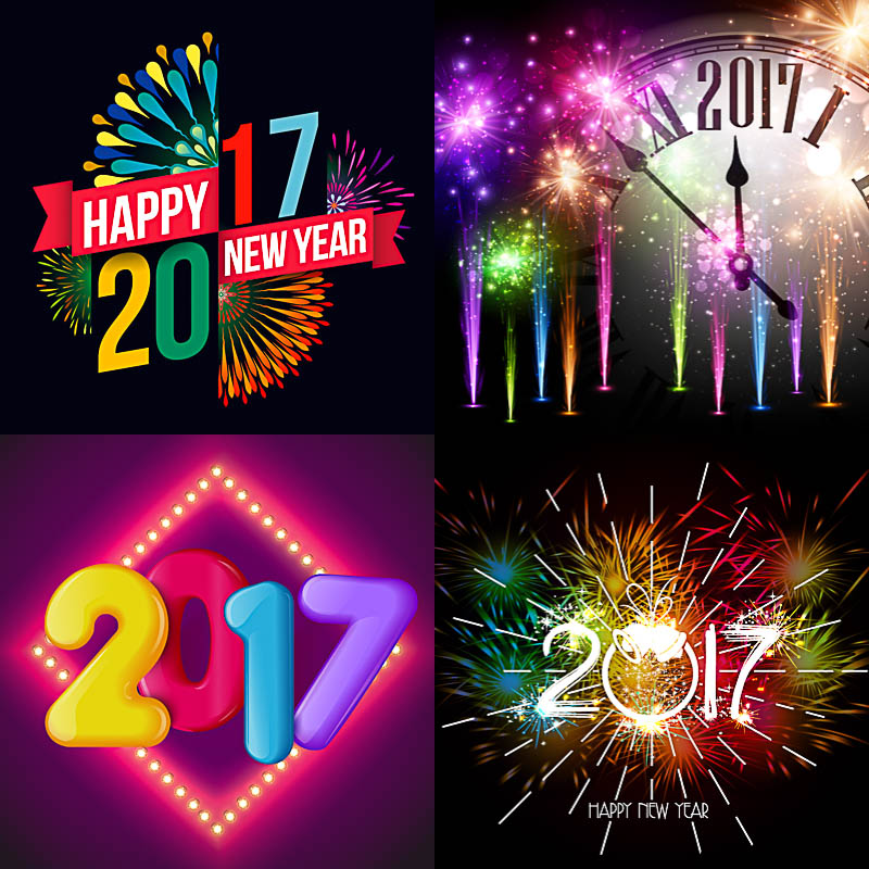Cute Happy New Year backgrounds for 2017 vector