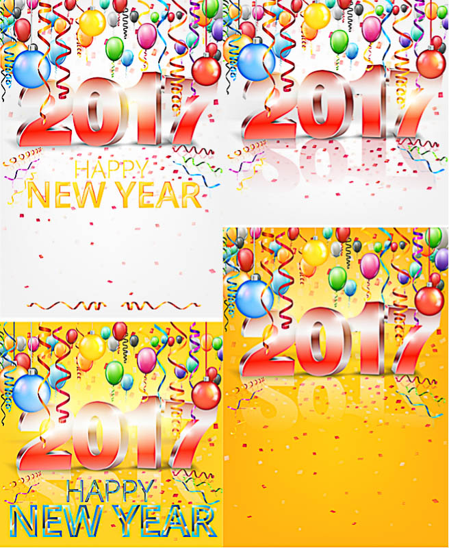 New Year's cards and 2017 inscription vector